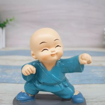 Cute Small Kung Fu Monks Figure for Decoration - Blue